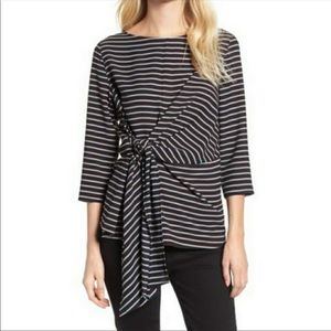 NWT GIBSON Tie Front Crepe Top Striped Size Medium